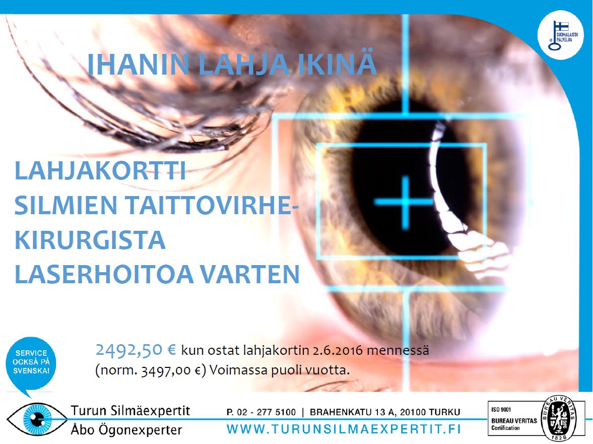 Turun Silmäexpertit laserleikkaus lahjakortti